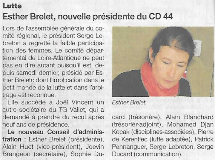 Esther Brelet Présidente du CD44<span style=
